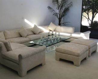 Mid-Century White on White Lo-Back Sectional  Sofa, 2 large matching ottomans, large artifical plant