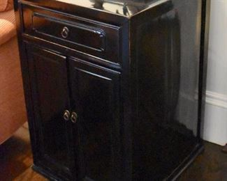 One of a pair of lacquer end tables