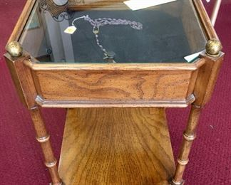 """Brandt (Hagerstown, MD) glass-top display table, 15""""x21"""""""