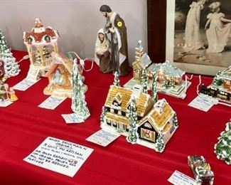 Walter Brockmann (St. Louis, MO, artist) original holiday village; houses and buildings are lighted.