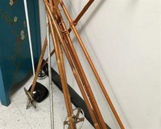 Antique snow skis, 4 pair in 2 sizes