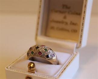 14K Gold Multicolor Gemstone Ring