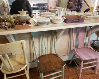 Old chairs, silverware
