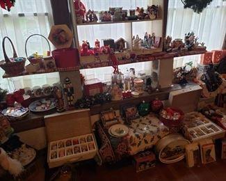 Christmas ornaments, figurines.  Vintage ornaments.  Wreaths