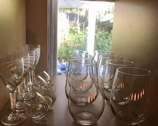 Stylish red wine glasses set of 8, port wine glasses set of 5, shot glasses set of 4.