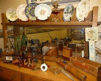 assorted glass and antiques