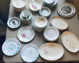 Various mismatched china plates, platters, bowls. Mid century modern and earlier, stoneware, and pyrex. Not all pictured (still being priced).