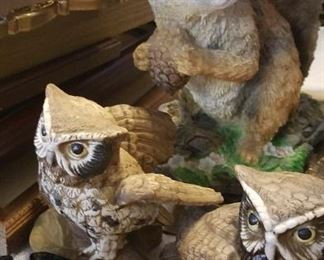 Owls and squirrels figurines, ashtrays, cherubs, angels, and santa figurines, music boxes, Japan porcelain figures.