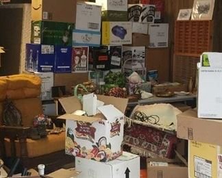 Boxes and boxes of good household items and decor, and collectibles.