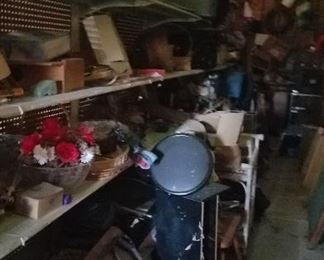 Shelves and shelves of all kinds of treasures in outbuilding 1.