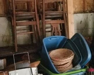 Set of 8 Antique chairs, bins and misc. outbuilding 1.
