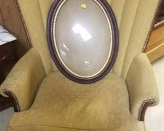 Oval Bubble Picture Frame, Antique  Brass Studded Accent Chairs (2)