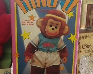 Vintage Ring-O Skating Monkey Doll (new in box)