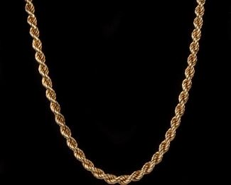 3: 14k Yellow Thick Gold Rope Necklace, 21.9dwt