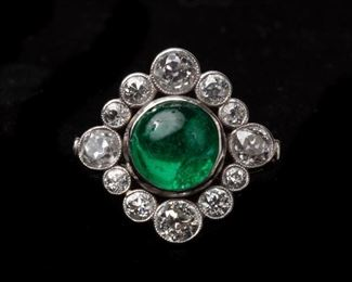 5: 18k Emerald Cabochon and Diamond Vintage Ring