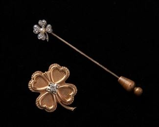 8: Diamond Four Leaf Clover Gold Pendant and Stick Pin, 14k & 18k