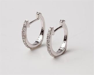 10: Roberto Coin Micro Pave' Huggie Earrings, .15ctw