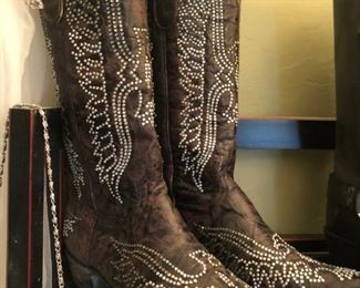 Cinderella, if you have a size seven, we have custom made Lucchese rhinestone cowboy boots for you, plus Frye and many others.
