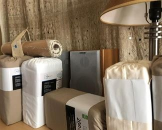 Legna and other custom linens, all King sized and most new in their wrappers.