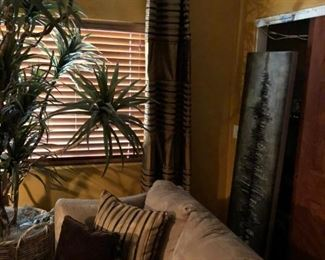 Custom is the word here, room sized silk plants, Norwalk sleeper queen sofa, and PILLOWS!