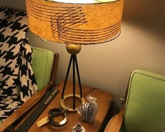 Vintage Walter Von Nessen Table Lamp With Shade ~ Russel Wright Connant Ball Arm Chairs & Magazine Rack Side Table