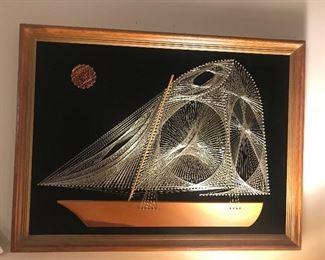 Vintage String Art Sail Boat