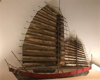 Vintage Curtis Jere Chinese Junk Wall Art Ship