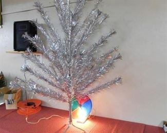 Vintage Six Foot Aluminum Christmas Tree with Color Wheel and Boxes