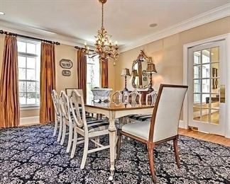 """Gorgeous antique Mahogany Dining Table and Chairs - refinished and """"contemporized""""."""