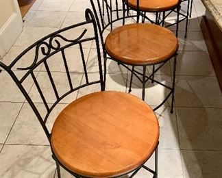 Set of 8 iron and wood barstools