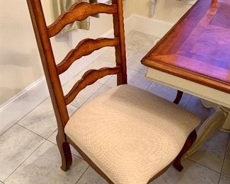 Ladder Back Dining Chairs with seats upholstered in cream