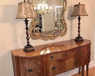 Pair of Buffet Lamps; Spectacular gold gilt, ornate mirror