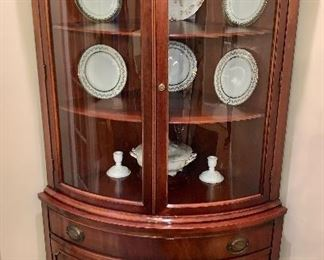Gorgeous, small, corner china cabinet - perfectly refinished!