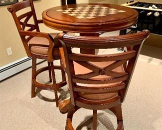 Ball and Claw Turned Pedestal Flip Poker/Chess Pub Table with Honey Finish
