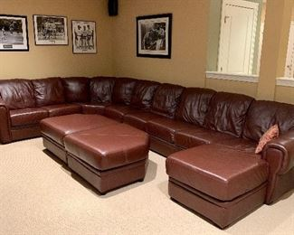 Absolutely great Classic Chestnut Leather Sectional!