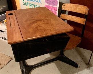 Restored antique school desk