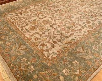 8.8 x 11.9 - Beige and sage area rug