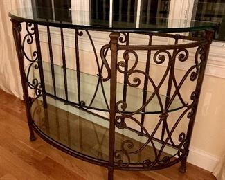 Demi-lune glass top and metal foyer table