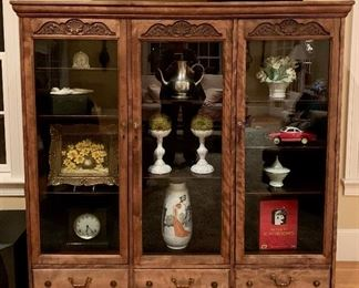 Antique Victorian Carved Glass Door Bookcase with 3-drawers