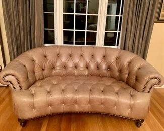 Unusual Tan Crescent Chesterfield Style Sofa with Nailhead Trim
