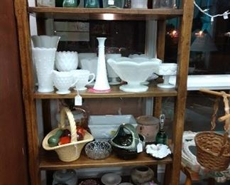 $5 for white milk glass on this shelf                                                            Shelf for sale   $30