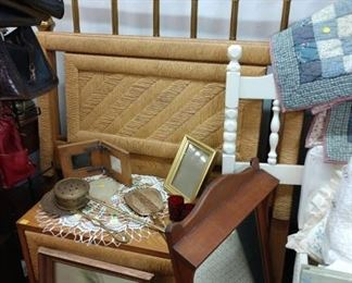 2 Twin wicker headboards, night stand and other night stands, headboards, bed frames, bedding available 50-75% off