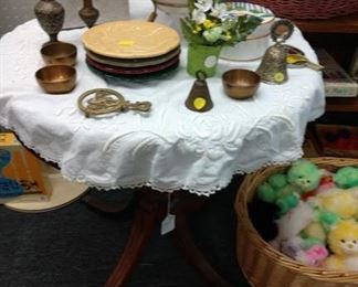 Vintage tables, brass items                                                                           Stuffed animals 30% off (retail)