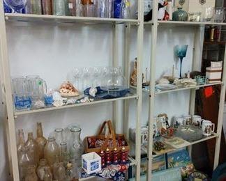Vintage bottles, glassware, beach themed items, including artwork   30-50% off