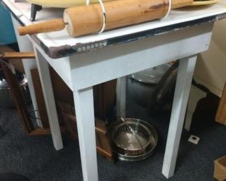 Enamelware table, enamelware (not pictured)  50% off  and items pictured