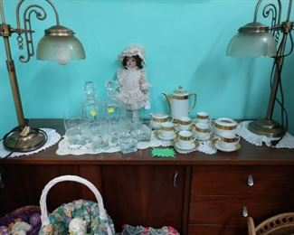 Vintage buffet, lamps and glassware 50% off and china set 75% off                                                                                                          Easter items bulk lot priced (pictured and more)