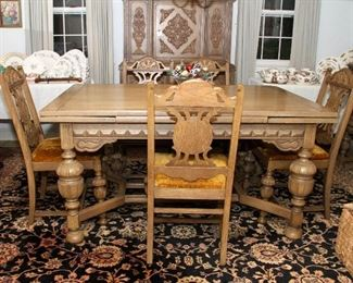 Oak English Tudor dining set