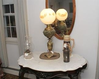 Tiffany Lamp and marble top table