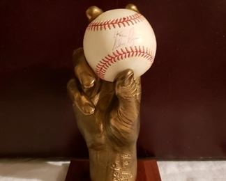 Bronze Nolan Ryan Hand with Autographed Ball