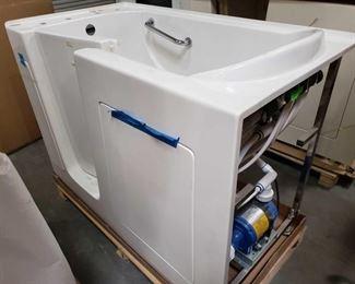 "414: Hydro Dimensions Walk In Tub, Model P Series 3055L25420U Measures approximately 30"" x 55"" x 40"" tall"